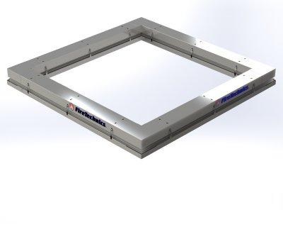 Автоматическая противопожарная штора «Гармошка» квадратная замкнутая форма в сложенном состоянии